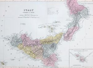 Map Of Italy And Islands.Details About 1887 Antique Map Southern Italy Calabria Sicily Palermo Maltese Islands Malta