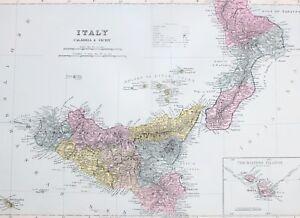 1887 Antique Map Southern Italy Calabria Sicily Palermo Maltese