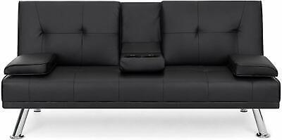 Durable Modern Faux Leather Futon Sofa