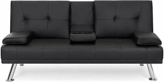 Amazing Modern Faux Leather Futon Sofa Bed Fold Up Down Recliner Couch Black Creativecarmelina Interior Chair Design Creativecarmelinacom