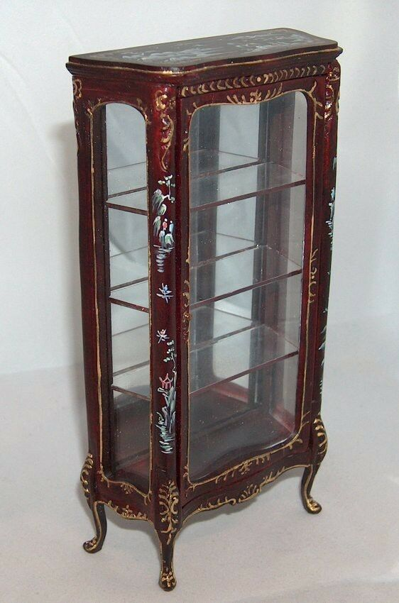 1 12 Display cabinet mahogany with handpainted decorations Vetrina mogano -15%