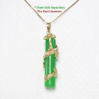 "14k Solid Yellow Gold Dragon Totem Column Green Jade Pendant 1.5"""