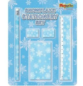 5 piece snowflake stationery set frozen pencil ruler notepad