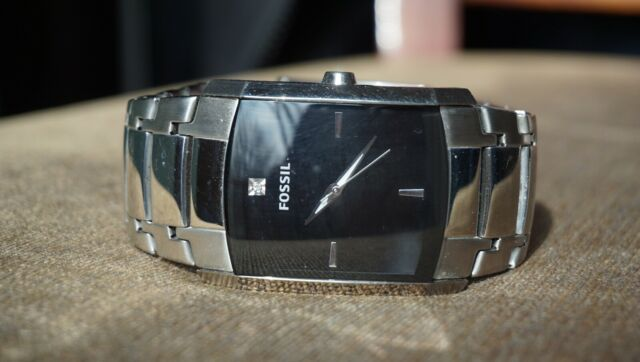 Fossil Fs4156 Mens Silver Band-Black Watch Face - Dress Watch