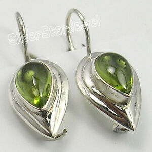 New-925-Sterling-Silver-DROP-GREEN-PERIDOT-FIX-HOOK-TRENDY-Earrings-1-034