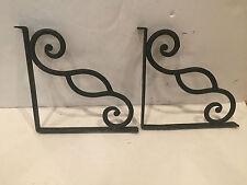2 antique heavy duty wrought iron shelf mantel wall brackets pair 11 x 105