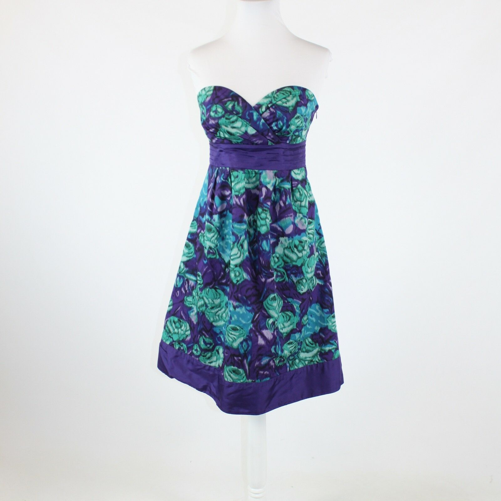 554d10bf230c Purple green abstract 100% cotton ANTHROPOLOGIE MOULINETTE SOEURS dress 4  floral npsftj4439-Dresses