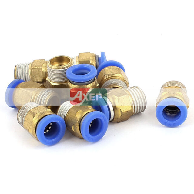A● 10 Pcs NPT Male Thread Dia Tube Straight Push in Connect Fitting
