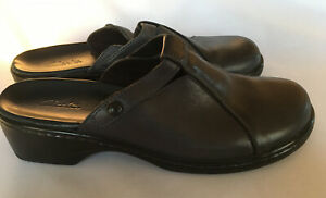 7M Clogs Leather Upper Navy Blue