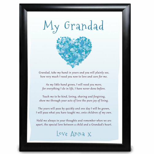 Personalised Grandad Heart Poem Gifts Birthday Christmas Father/'s Day Him