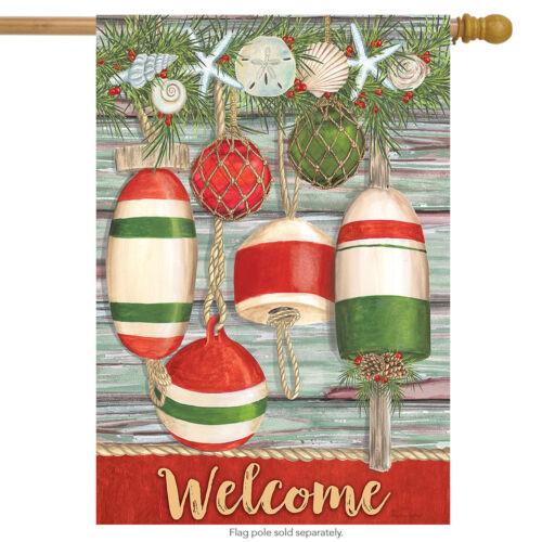 "Festive Buoys Christmas House Flag Nautical Seashells 28/"" x 40/"" Briarwood Lane"