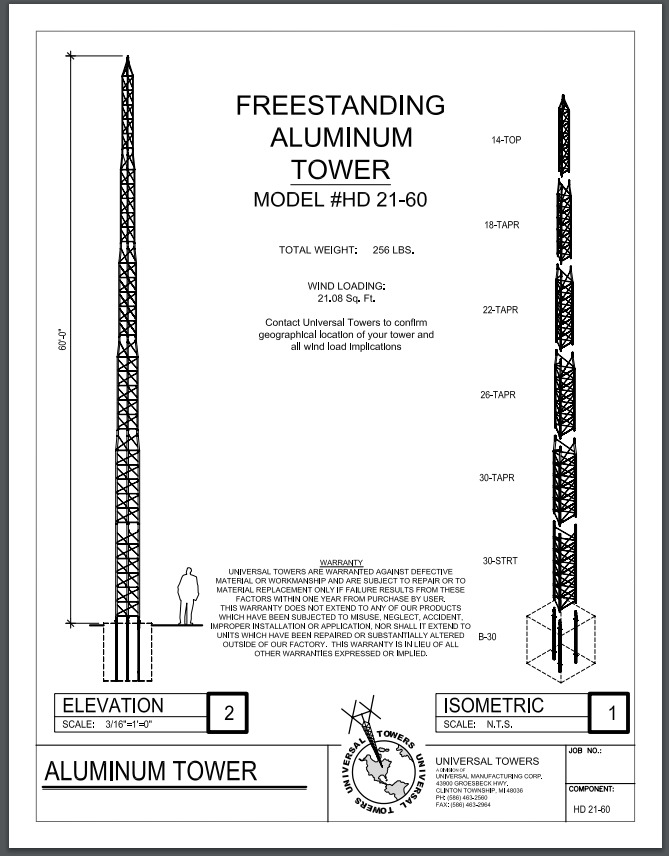 Freestanding Aluminum Tower 60'. Buy it now for 3000.00