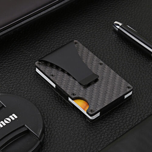 Hold Almost 12-13cards  Carbon Fiber Credit Card Blocking Metal Money Clip Purse