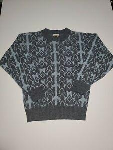 Vintage-Le-Tigre-Acryl-Strick-Pullover-blau-und-grau-geometrische-Herren-Small