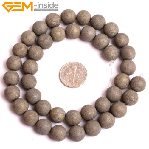 """Round Gemstone Pyrite DIY Beads For Jewelry Craft Making Strand 15/"""" Dyed In Lots"""