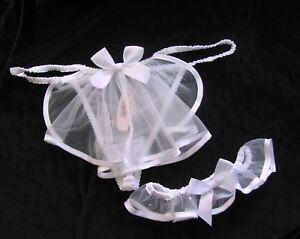 Victoria-039-s-Secret-Bridal-Bling-Garter-with-Thong-Veil-Set-Rhinestone-Crystal-L