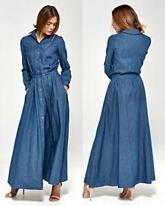 13d0357e54f8a Robe maxi longue en jeans femme fendue boutons pressions NIFE S93 36 ...