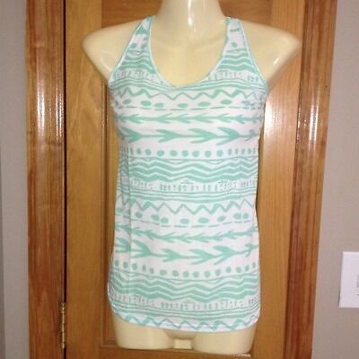 Victoria Secret Love PINK Low Back Aqua Blue Aztec Tank Top M Rare Soldout Swim