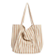 miniature 17 - Women-Large-Canvas-Shopping-Bag-Fashion-Striped-Cloth-Reusable-Tote-Bag
