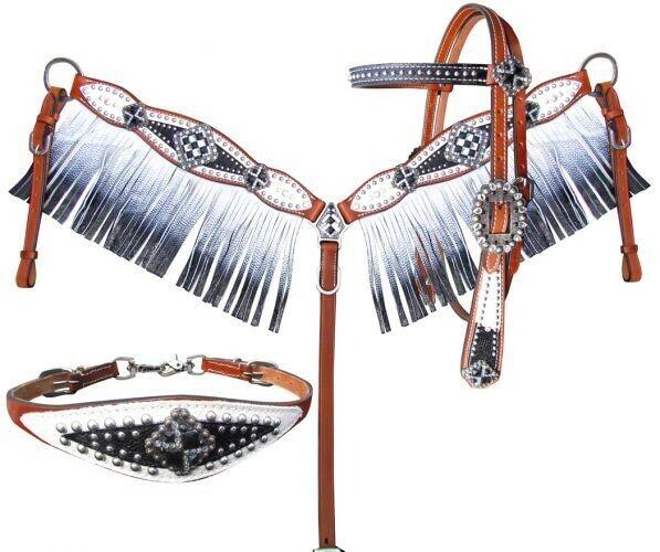 mostrareuomo Bejeweled Testiera in pelle,Seno Collare & Garrese Garrese Garrese Cinturino Set fb1