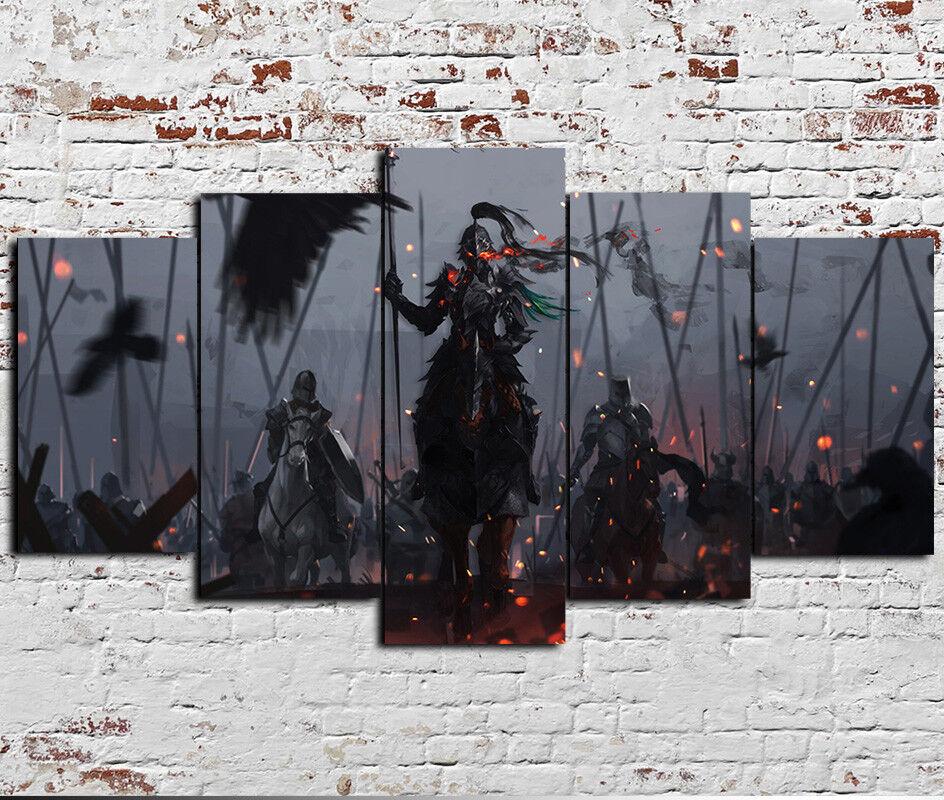 X groß Framed Fantasy Dark Knight Battle 5 Piece Canvas drucken wand kunst Decor