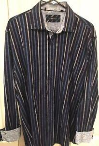 Zagiri-Mens-Long-Sleeve-Button-Front-Shirt-flip-cuffs-blue-striped-SIZE-2XL-XXL