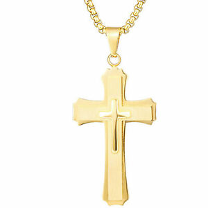 Men-039-s-Stainless-Steel-Double-layer-Christ-Cross-Pendant-Necklace-Wheat-Chain-22-034
