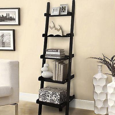 5 Tiers Wooden Wall Lean Ladder Bookshelf Display Unit Bookcase Storage Shelves