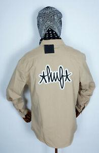 Huf Worldwide Skateboard T-Shirt Woven Hemd Longsleeve Mechanical Khaki in M