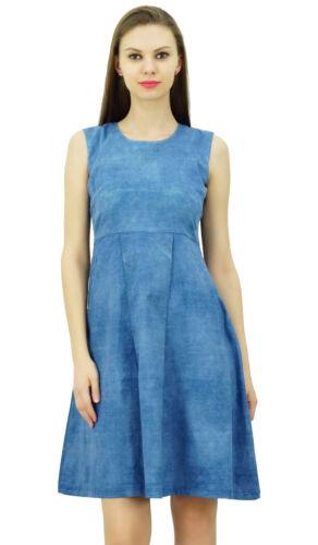 Bimba Women/'s Denim Blue Sleeveless Dress Box Pleated Casual Summer Dresses