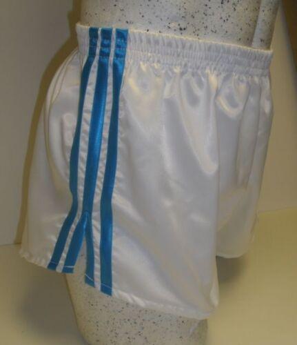 White /& Turquoise Retro Nylon Satin Football Shorts S to 4XL