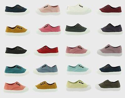 NEW Victoria Kids Canvas Unisex Slip On Shoes 100/% Organic Cotton VEGAN Sneakers
