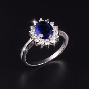 4e5cd64831ace Oval Cut bluee Sapphire Ring 14k White gold Finish Floral Design 1.5ct  Engagement ngedra7422-Gemstone