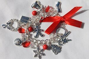 Christmas-Holiday-Charms-Bracelet-w-lots-of-Christmas-Charms-1-Bracelet