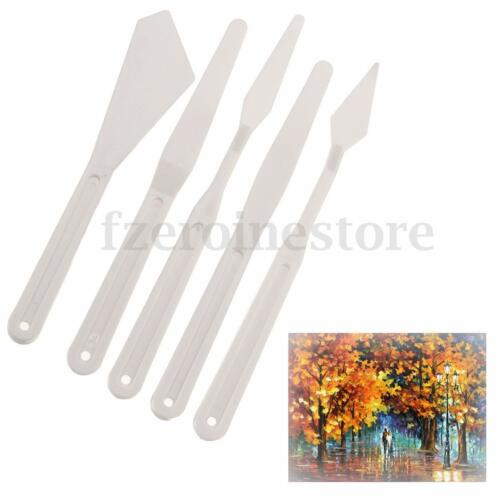 5ps Plastic Mixing Tools Artist Oil Painting Pallet Palette Knives Spatula Paint