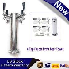 4 Beer Tower Dispenser Draft Keg Beer Dispenser Set With 4 Faucet Tap Handle