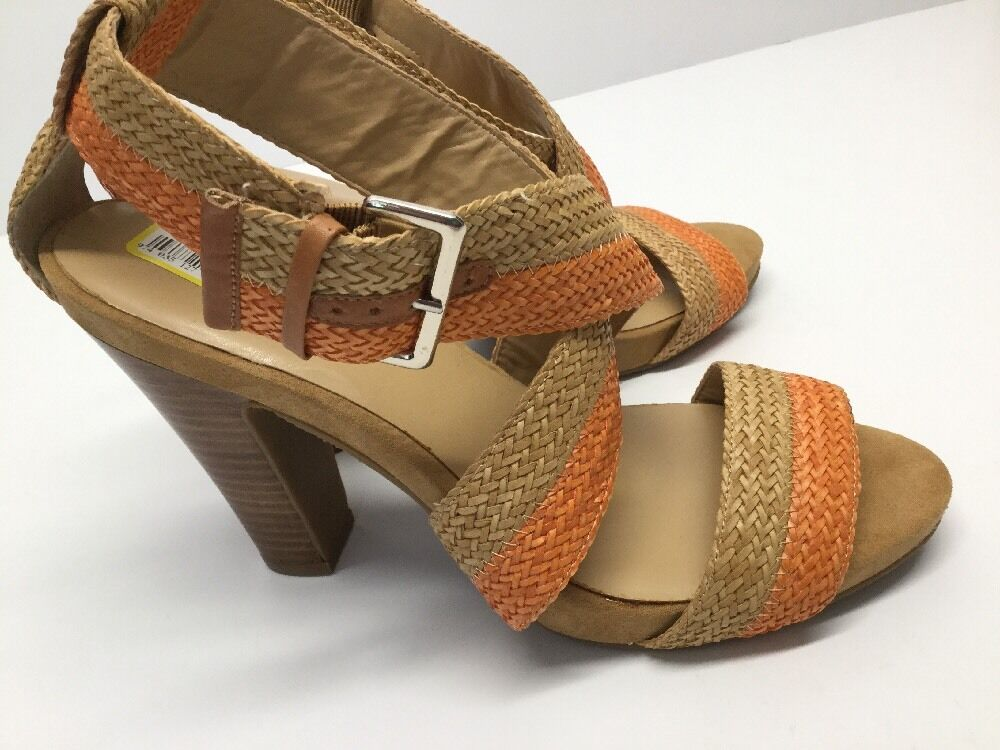 NEW NEW NEW Nine West sandal heel tan Orange Beautiful   Taille 10 Braided  NW7STARE bf5365