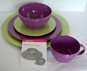 Image is loading 5-pc-Set-Tupperware-Melamine-Gestures-Purple-Green- & 5 pc Set Tupperware Melamine Gestures Purple Green Salad Dinner ...