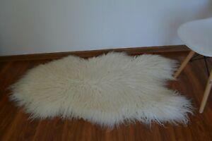 ICELANDIC Sheepskin rug curly size XL 130x70cm Natural colour HUGE size A11