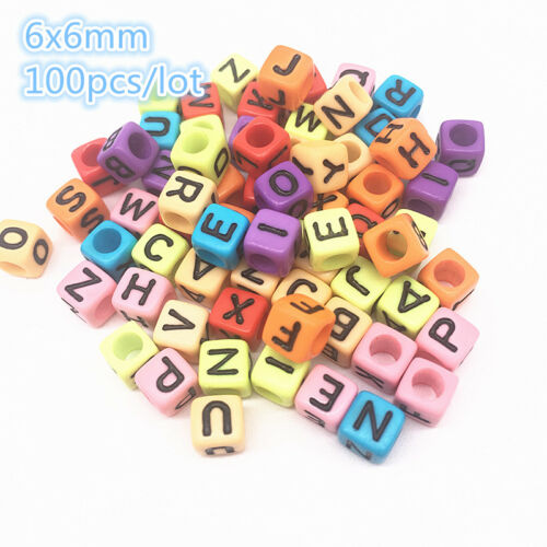 100pcs Round Square Colorful Alphabet Letter Acrylic Beads Jewelry Accessories