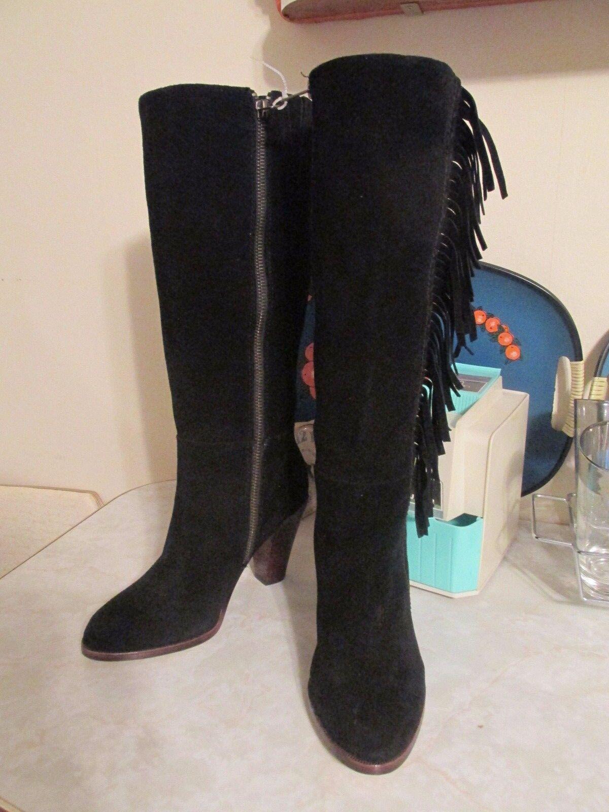 SPLENDID Black Leather   suede   Zip Zip Zip Fringe   Boots size 6 NWOB 9345a8