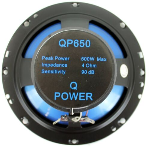 "4 Q POWER 6.5/"" 300 Watt 2-Way Blue Car Audio Stereo Coaxial SpeakersQP650"