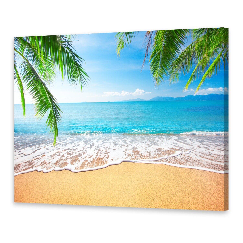 - Tela Immagini Immagine Parete Stampa su CANVAS Stampa d'Arte Palma e spiaggia