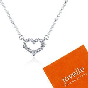 Silber-Herz-Halskette-Kette-Anhaenger-aus-echt-925-Sterlingsilber-Schmuckbeutel
