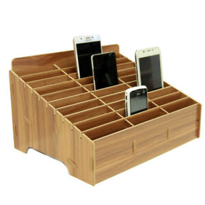 Home Storage Wooden Desk Storage Box Multi-functional Cell Phone Repair Accessories Tools Box