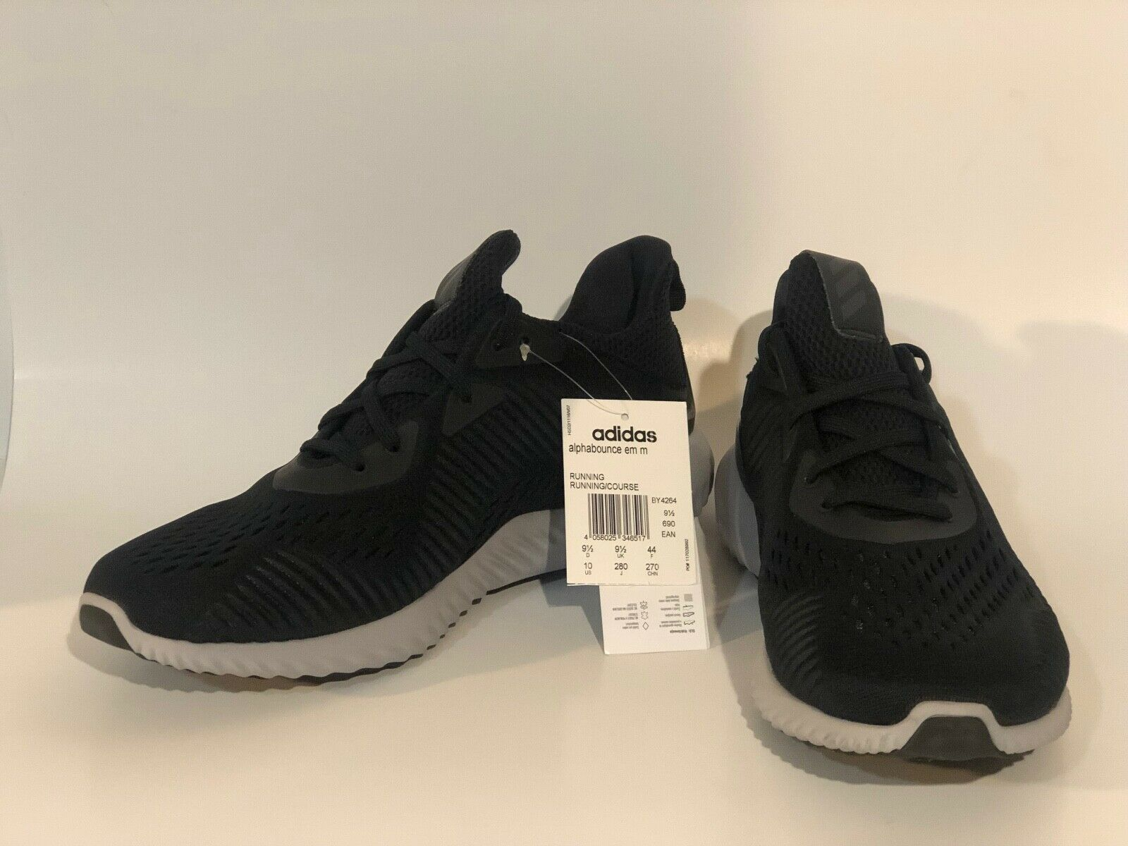 ADIDAS ALPHABOUNCE EM M SIZE 9.5, 10  BY4264 MENS SPORTS SNEAKER BLACK WHITE