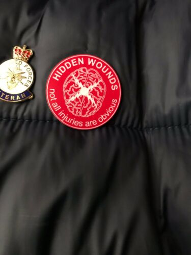 Hidden Wounds Awareness badge laser engraved 2mm red acrylic PTSD Depression