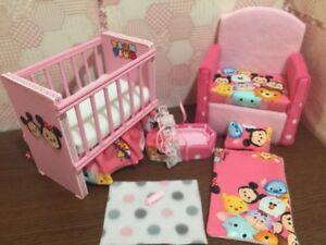 Image Is Loading Barbie Baby Nursery Set Furniture Crib Bottle