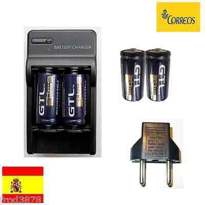 4X PILA RECARGABLE 16340 CR123A LR123A 2000mAh Li-ion 3,6V GTL Litio + cargador2