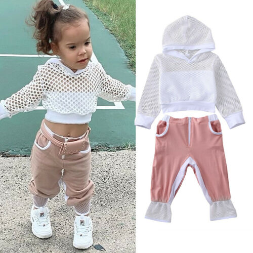 US Toddler Kids Baby Girl Tracksuit Clothes Mesh Hooded Tops Pants 2PCS Outfits